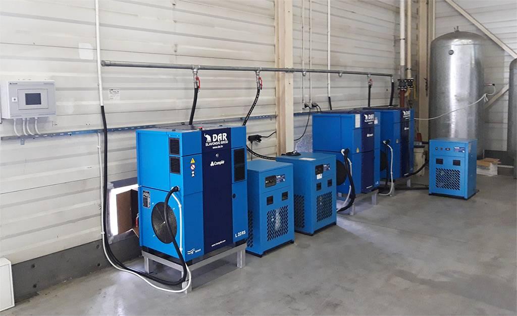 Linije za komprimirani zrak po sistemu ključ u ruke, kompresori